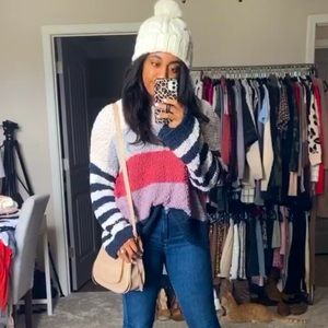 Pink Lily Boutique Colorblock Popcorn Sweater
